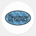 Retro Dreamer Star Logo - Blue Round Stickers