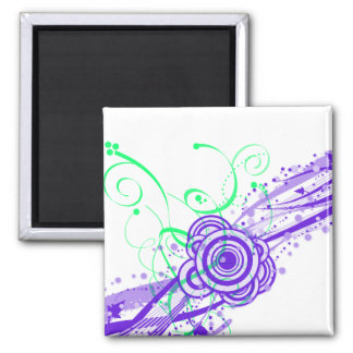 Retro Dreams II Circles and Swirls 2 Inch Square Magnet