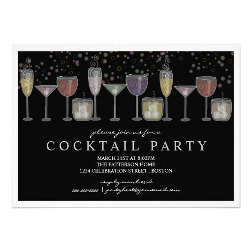 Retro drinks and bubbles cocktail party invitation 5 x 7 for Best mixed drinks for parties