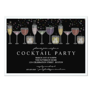 "Retro Drinks and Bubbles Cocktail Party Invitation 5"" X 7"" Invitation Card"