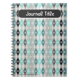 Retro Dripping Baubles - Aqua, Black - Personalize Notebook