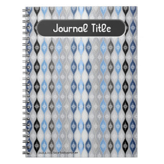 Retro Dripping Baubles - Gray, Blue - Personalized Notebook