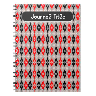 Retro Dripping Baubles in Red, Black - Personalize Notebook