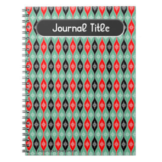 Retro Dripping Baubles in Red, Green - Personalize Notebook