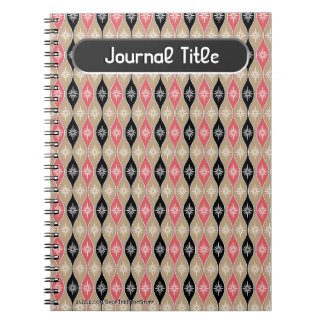 Retro Dripping Baubles - Pink, Black - Personalize Notebook
