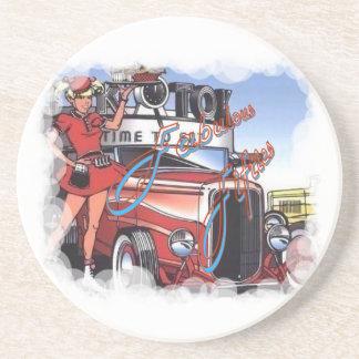 Retro Drive Inn Sandstone Coaster