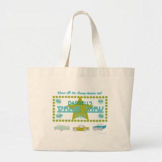 Retro Drive-Thru Diner (grn) Large Tote Bag