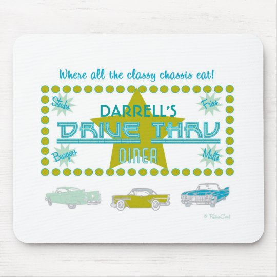 Retro Drive-Thru Diner (grn) Mouse Pad