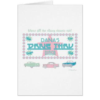 Retro Drive-Thru Diner (pink) Greeting Cards