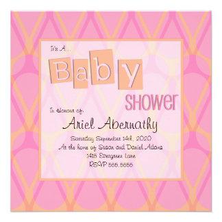 Retro Drop Baby Shower Invitations - Pink Orange