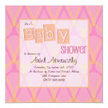 Retro Drop Baby Shower Invitations - Pink & Orange