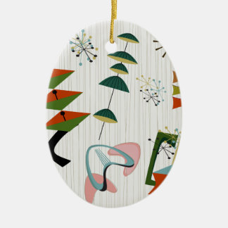 Retro Eames-Era Atomic Inspired Ceramic Ornament