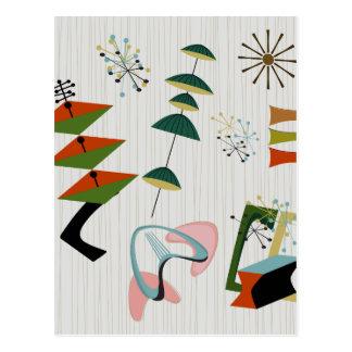 Retro Eames-Era Atomic Inspired Postcard