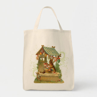 Retro Easter Bunny Tote Grocery Tote Bag