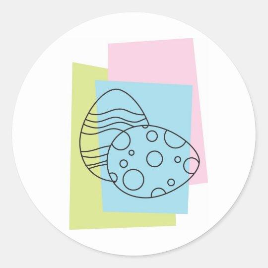 Retro Easter Eggs Classic Round Sticker