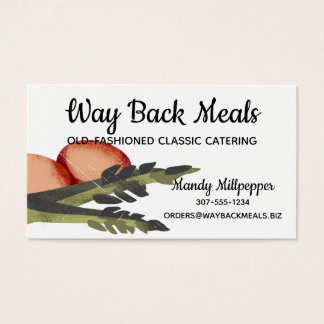Retro eggs asparagus chef catering business card