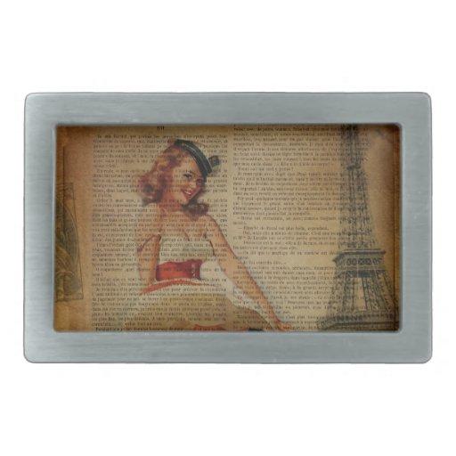 retro eiffel tower girly  sailor vintage paris rectangular belt buckle
