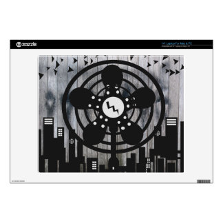 """Retro Electric Fan City at Night 14"""" Laptop Decal"""