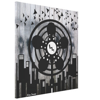 Retro Electric Fan City at Night Gallery Wrapped Canvas