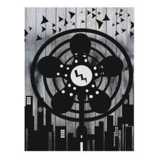 Retro Electric Fan City at Night Postcard