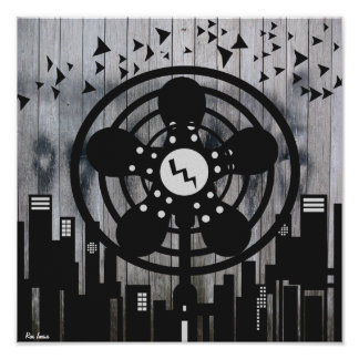 Retro Electric Fan City at Night Poster