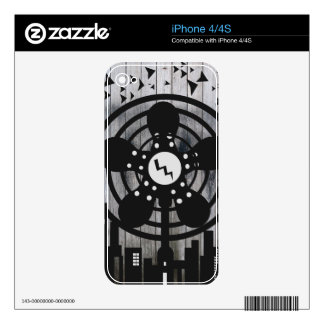 Retro Electric Fan City at Night Skins For iPhone 4