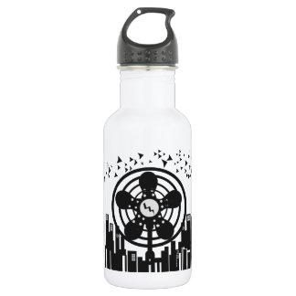 Retro Electric Fan City at Night Water Bottle