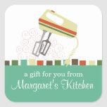 Retro electric mixer baking cooking gift tag label square sticker