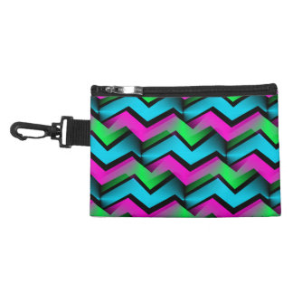 Retro Electric Rainbow Zigzag Pattern Accessory Bag