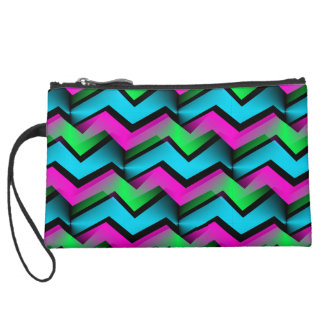 Retro Electric Rainbow Zigzag Pattern Suede Wristlet Wallet
