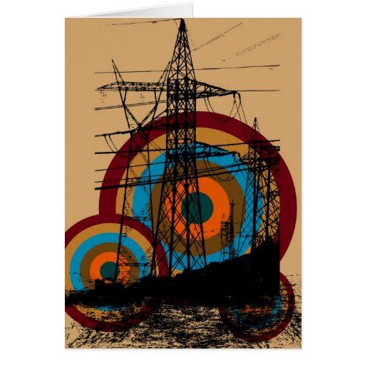 Retro Electric Tower Greeting Card