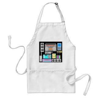 Retro electronics jumble on black adult apron