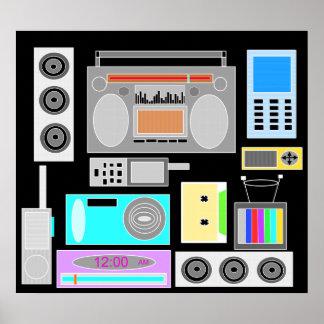 Retro electronics jumble on black print