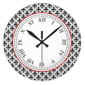 Retro Elegance Black and White Damask Pattern Clocks