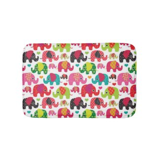 retro elephant kids pattern wallpaper bath mats