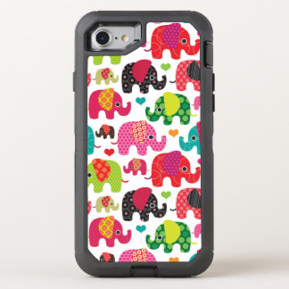 retro elephant kids pattern wallpaper OtterBox defender iPhone 8/7 case