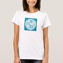 Retro Elephant Palm Tree Circle in Slate Blue T-Shirt