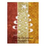 Retro Embossed Christmas Tree Postcard