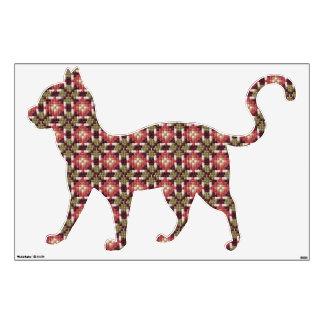 "Retro embroidery cat walking 30""x45"" wall sticker"