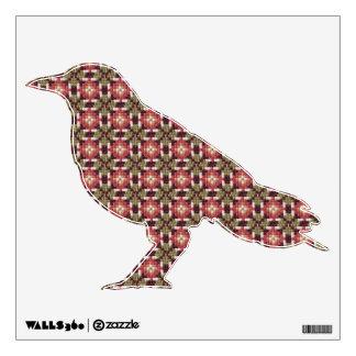 Retro embroidery crow wall sticker