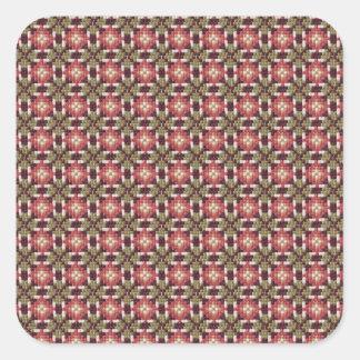 Retro embroidery square sticker