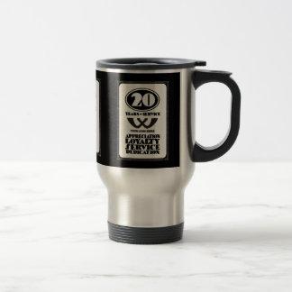 Retro employee 20 year service award travel mug