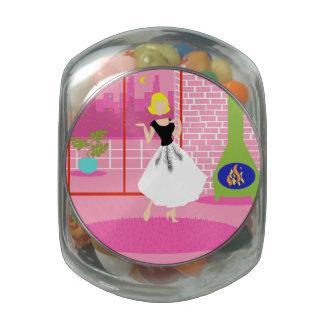 Retro en el tarro rosado del caramelo jarrones cristal