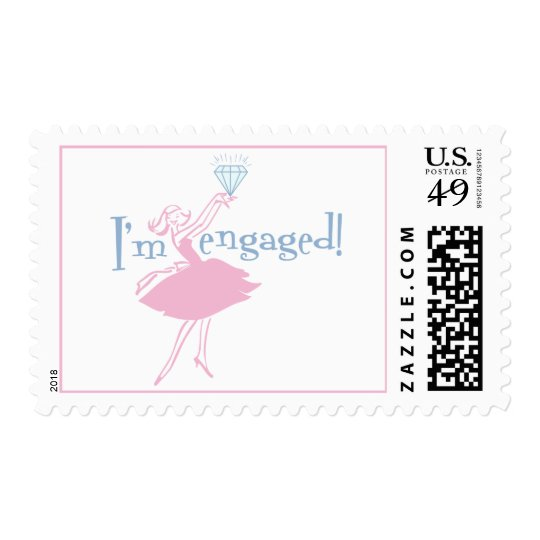 Retro Engaged Postage Stamp