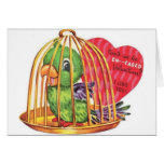 Retro Engagement Parrot Valentine's Day Card