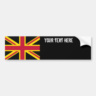 Retro England Flag Black Red Yellow Bumper Sticker
