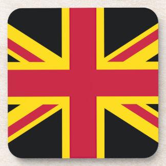 Retro England Flag Black Red Yellow Drink Coasters