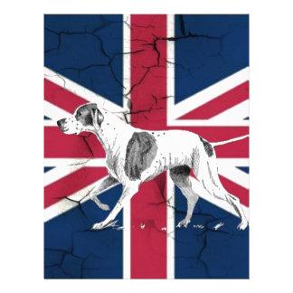 Retro English pointer dog British union jack flag Letterhead
