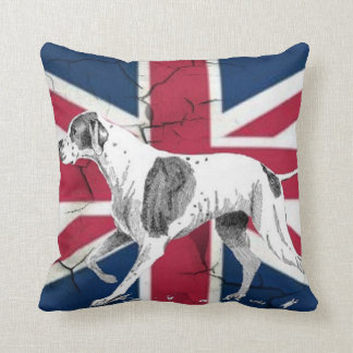 Retro English pointer dog British union jack flag Throw Pillow