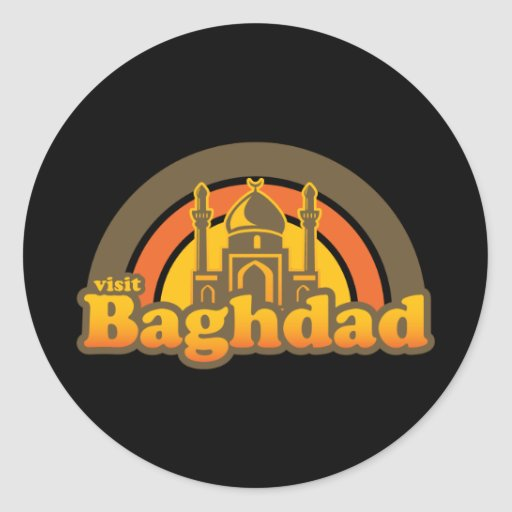 Retro estupendo de Bagdad Etiqueta Redonda
